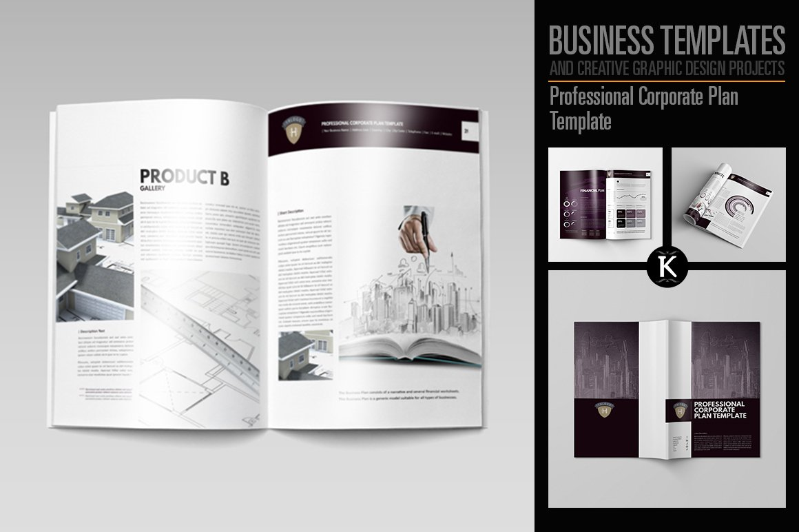 Business plan executive summary brochure templates creative market professional corporate plan template wajeb Images