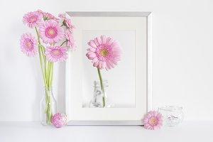 Pink Gerberas & Silver Frame Mockup