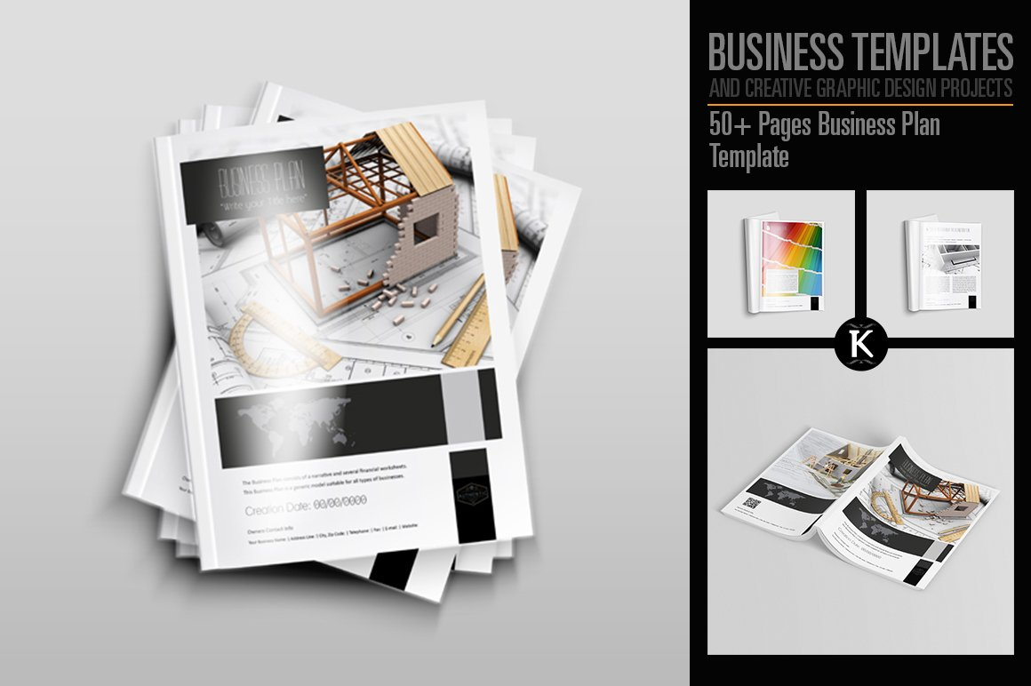 50 pages business plan template templates creative market flashek Gallery