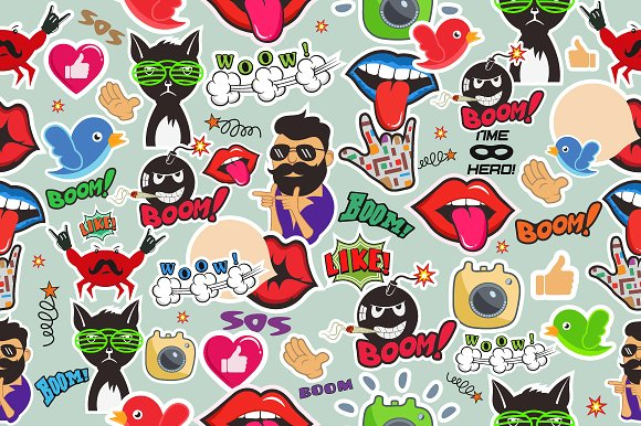 Shiny Icons In Cartoon Style