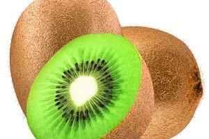 Two kiwi fruit and half isolated