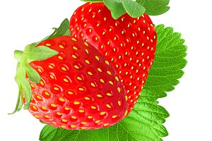 Two strawberry with leaf isolated