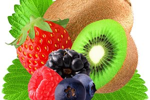kiwi and berries with leaf isolated