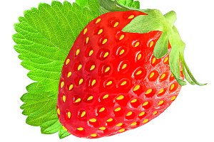 Fresh strawberry with leaf isolated