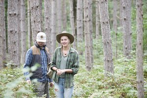 Couple on hike pines northern