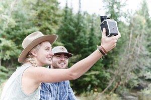 Vintage selfie north woods adventure
