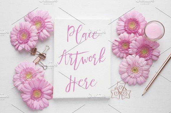 Pink Gerbera Stretched Canvas Mockup
