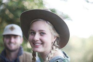 Girl smile vintage hat