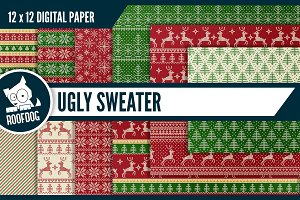 Ugly red and green Christmas sweater