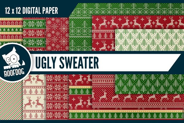 Ugly red and green Christmas sweate…
