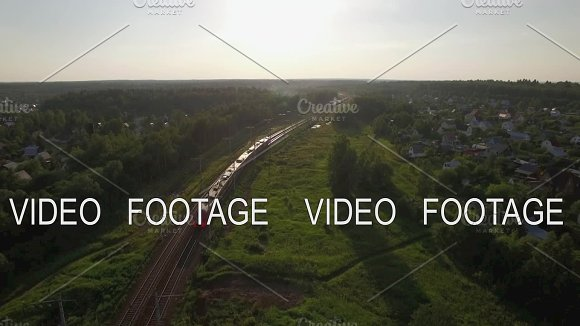 Flying Over Train In The Countryside Russia
