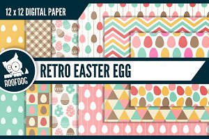 Retro Easter egg digital paper