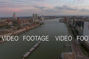 Rotterdam cityscape with Erasmus Bridge, aerial