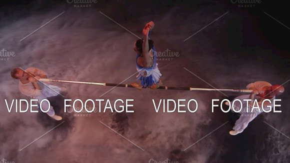 Acrobatics On Horizontal Bar In Circus