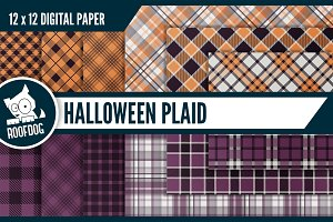Halloween plaid digital paper