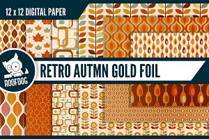 Gold foil fall digital paper