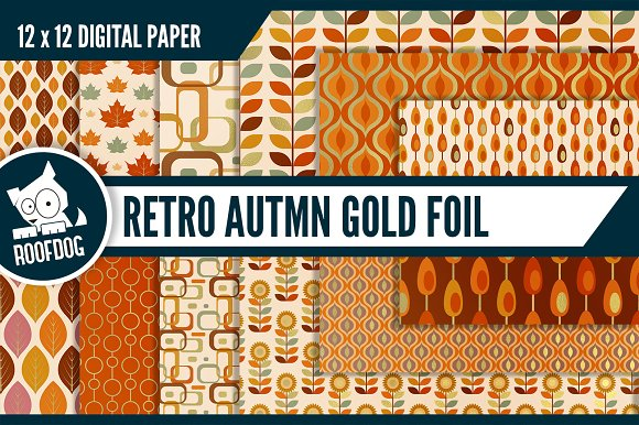 Gold Foil Fall Digital Paper