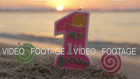 One Year Old Birthday Candle On The Beach Graphics Creative Market