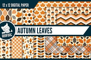 Autumn leaves digital paper