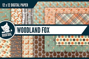 Woodland fox digital paper