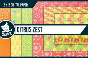 Citrus zest digital paper