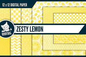 Lemon digital paper—summer pattern