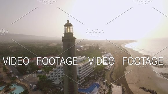 Aerial Scene Of Tourist Town And Lighthouse Maspalomas Gran Canaria