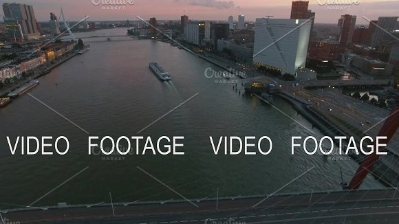 Rotterdam With View To River And Bridges Aerial