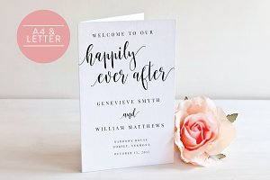 Wedding Program Folded -Editable PDF