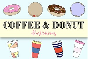 Donut & Coffee Vector Illustrations