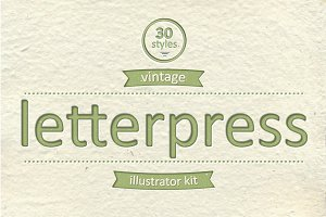 Vintage Letterpress Illustrator Kit