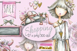 Shopping Girl Clip art Watercolor