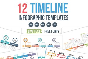 12 Timeline Infographics Templates
