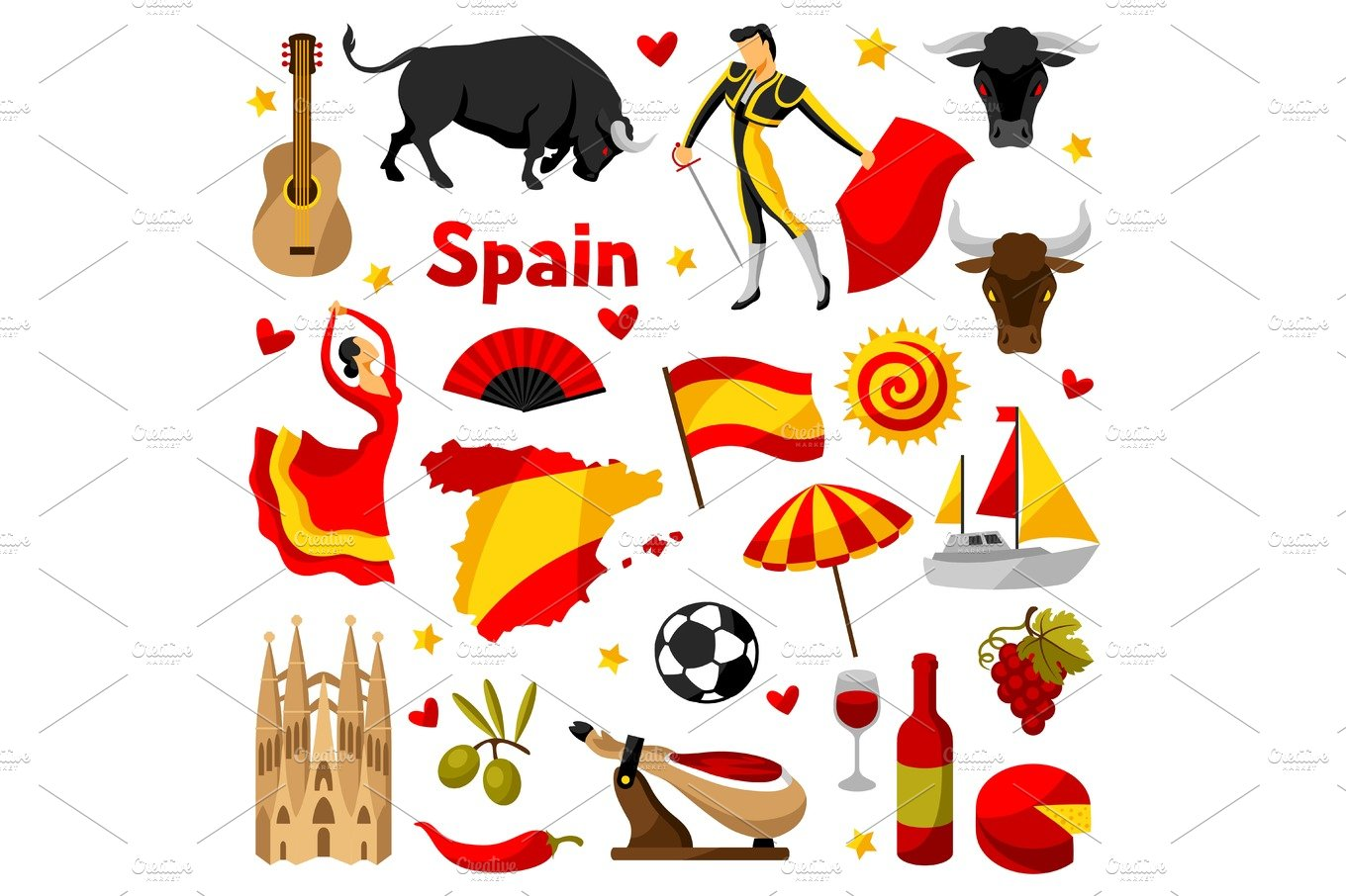 Vertical Seamless Background With Hand Drawn Spain Symbols ...