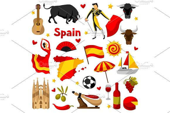 Spain Icons Set Spanish Traditional Symbols And Objects
