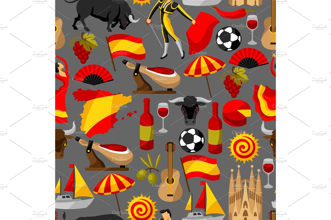 Spain Background In Shape Of Sun Spanish Traditional Symbols And