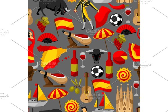 Spain Seamless Pattern Spanish Traditional Symbols And Objects Adorable Spanish Patterns