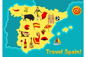 Map of Spain background design. Spanish traditional symbols and objects