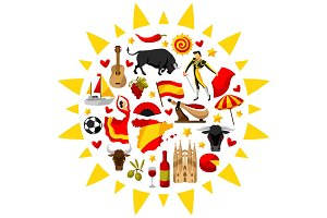 Spain background in shape of sun. Spanish traditional symbols and objects