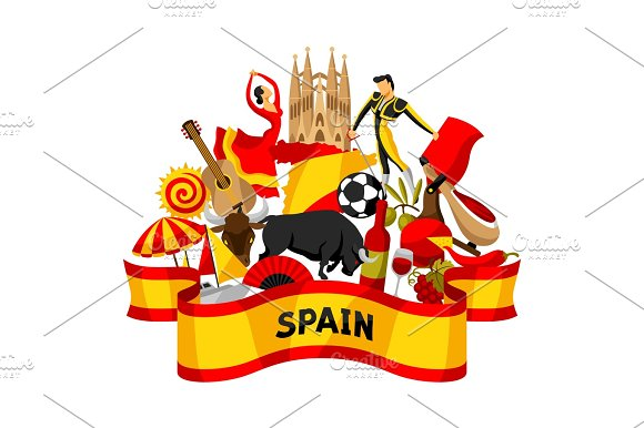 Spain Background Design Spanish Traditional Symbols And Objects