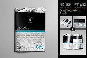 Balance Sheet 4 Business Template
