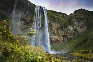 Waterfall in southern Iceland