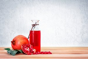 Fresh red pomegranate juice