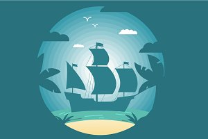 Landscape tropical sailing ship