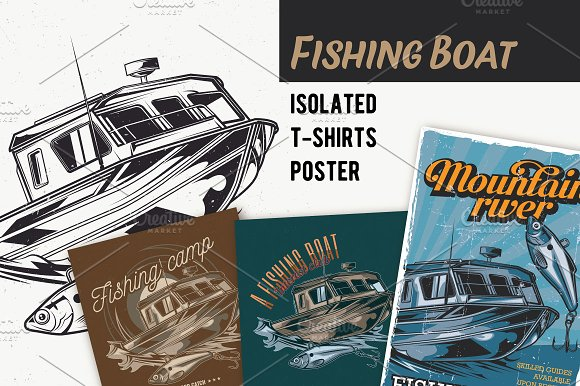 Fish Boat T-shirts And Poster Labels