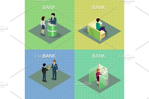Set Of Bank Concepts In Isometric Projection