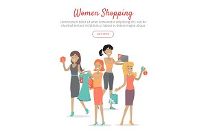 Woman Shopping Conceptual Flat Vector Web Banner