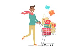 Buying Gifts on Sale Vector in Flat Design