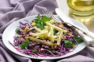 Salad red coleslaw and apple