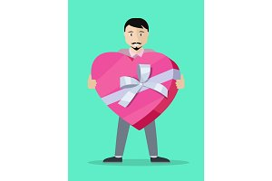 Man With Gift Box Flat Design Vector Illustration